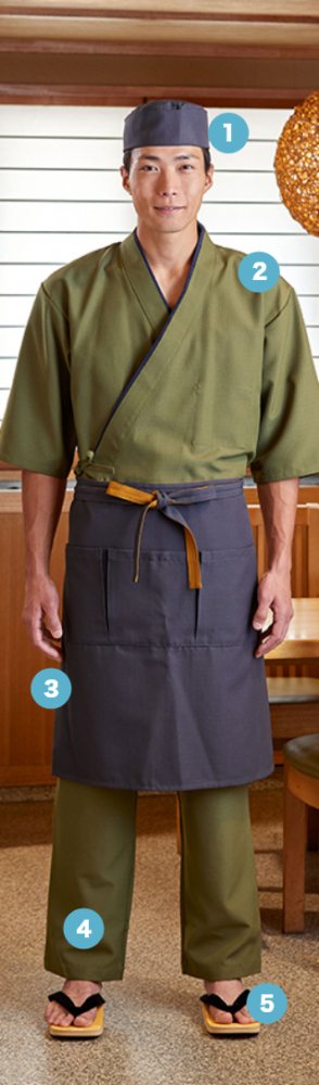 和の風情はそのままに 使いやすさを重視した 作務衣スタイル