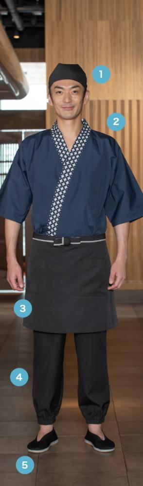伝統色+伝統柄をあしらった 紺のコーデを黒アイテム 引き締めた和風スタイル
