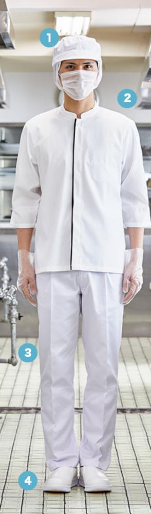 現場での調理の手際に こだわった 七分袖スタイル