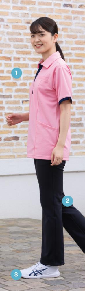 明るい色使いの ケアワークシャツ。介護の フットワークに配慮した ケアシューズにも注目