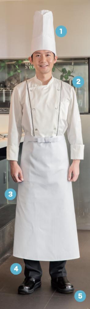 胸のパイピングラインが印象的。 オープンキッチンに映える デザインコックコート