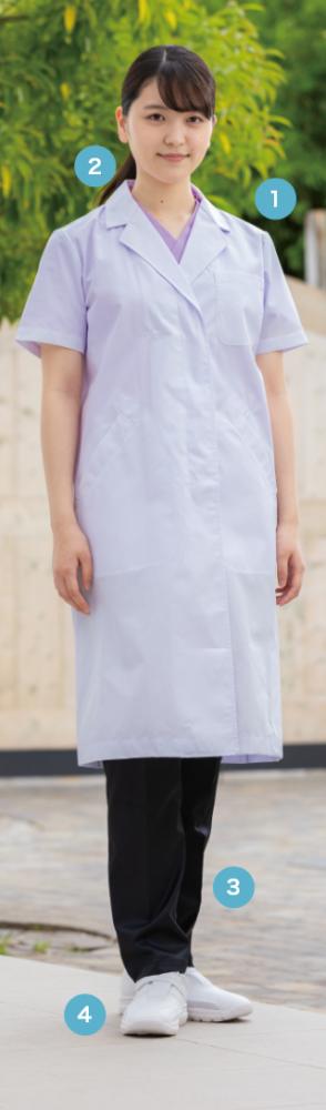 軽やかな印象の半袖診察衣。 暑さ対策にも最適です