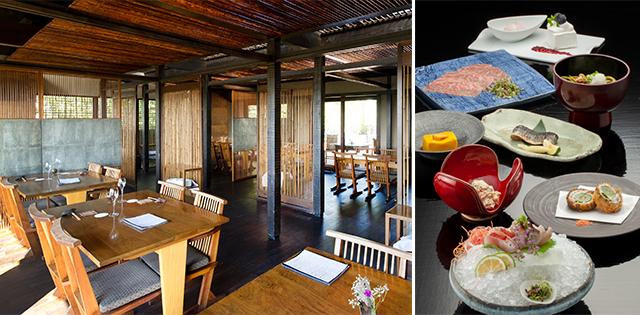 和とモダンがほどよく融合したインテリア。そのコンセプトは美しい料理にも見て取れる。