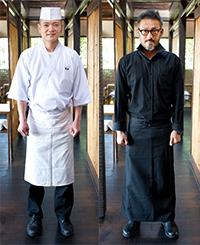 清潔感を表す井上料理長の作務衣は白、お客さまの黒子に徹する猪口店長のユニフォームは黒という、対照的なスタイル。